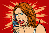 angry Woman talking on the phone. Emotions.