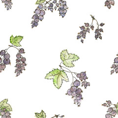 Bunches of black currant. Watercolor seamless background for the gift boxes, wrapping paper, textile, wallpapers, backgrounds, web-sites, cover.