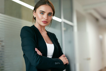 Beautiful Business Woman In Office Portrait