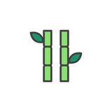 Bamboo stems with leaves filled outline icon, line vector sign, linear colorful pictogram isolated on white. Symbol, logo illustration. Pixel perfect vector graphics