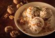 Maple Walnut Ice Cream with Caramel Sauce in Bowl
