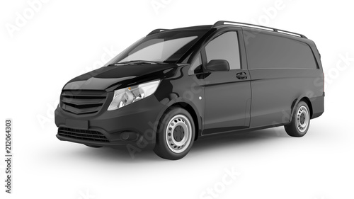 Wall mural Delivery Van 3D Rendering Isolated on White