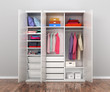 Closet compartment. Wardrobe. 3d illustrations