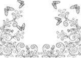black design with outlines of abstract butterflies and flowers - 212066196
