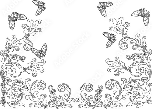 black design with outlines of abstract butterflies and flowers