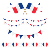Set, collection of french flags and design elements for French National Day and other public holidays. - 212068175