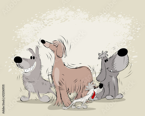 Group of cartoon dogs - 212069511