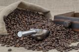 saco lleno de granos de cafe con una cuchara de aluminio sobre arpillera  - 212069929