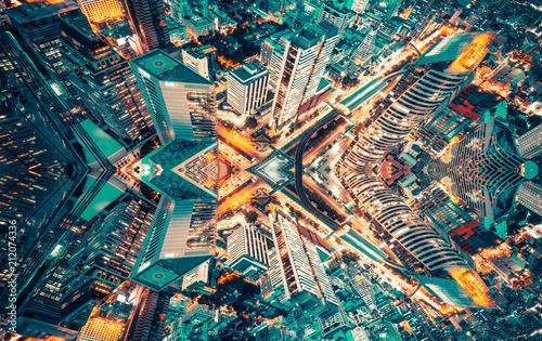 Plexiglas Bangkok Graphic content abstarct background of city skyline aerial view.