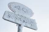 Frozen speed limit road sign - 212077335