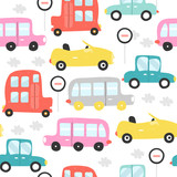 Colorful retro cars seamless pattern. Vector hand drawn illustration. - 212078515