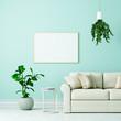 Leinwanddruck Bild - Leerer weißer Bilderrahmen über Couch