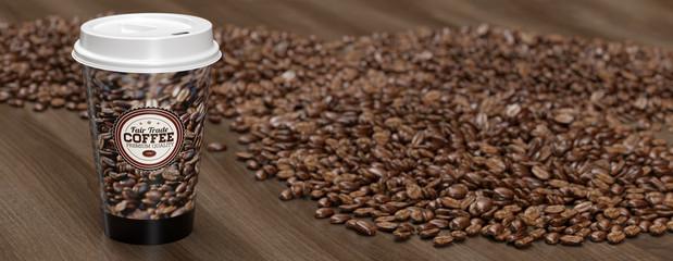 Panorama Kaffee To Go zwischen vielen Kaffeebohnen © Robert Kneschke
