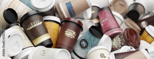 Leinwanddruck Bild Viele verschiedene Kaffeebecher auf einem Haufen