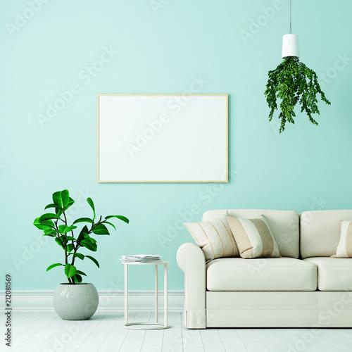 Leinwanddruck Bild Leerer weißer Bilderrahmen über Couch