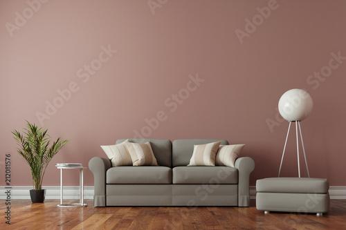 Leinwanddruck Bild Altbau Wohnzimmer Interieur mit Parkett und freier Wand