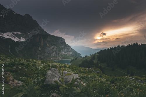 Fototapeta Beautiful Lake in Switzerland Mountains