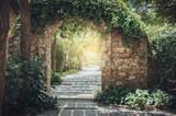 Stone arch entrance wall. - 212083132