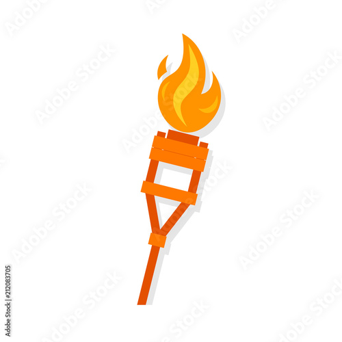 Burning tiki torch icon