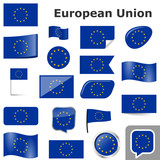 flags with country colors of EU - 212095306