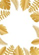 Composition with luxury golden jungle leaves on white background in paper cut style. Tropical gold leaf frame, template for design poster, banner, flyer weddingcard, Vector illustration. - 212099137