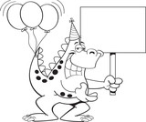 Black and white illustration of a dinosaur with balloons on it's tail and holding a sign. © bennerdesign