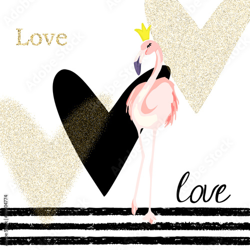 Creativity card with flamingo and gold glitter hearts. For flyers, banners, posters, valentines day. Vector illustration - 212104774