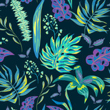 Vector summer tropical leaves, exotic greeting card - 212107969