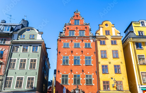 Fotobehang Stockholm Stortorget square in Old Town (Gamla Stan) in Stockholm, the capital of Sweden. Colorful houses at famous Stortorget town square in Stockholm's historic Gamla Stan