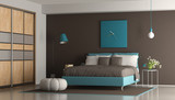 Blue and brown modern bedroom - 212112949