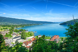 view of Annecy lake in french Alps with Duingt village - 212113525