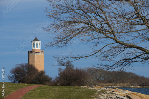 Fotobehang Vuurtoren Avery Point Lighthouse
