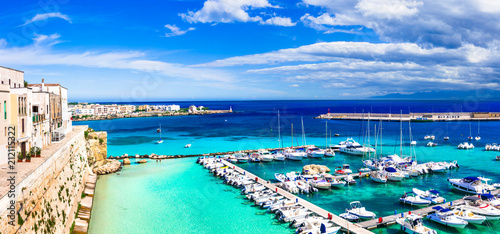 Fotobehang Freesurf Otranto - coastal town in Puglia with turquoise sea. Italian summer holidays