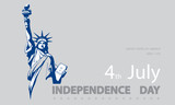 Poster.Blue Linear Picture. Independence Day, USA. Statue of Liberty, book.2018. National Symbol of America.Illustration,gray background.Use presentations,corporate reports,text, flag,postcards,vector