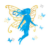 Watercolor fairy with butterflies. Vector magical illustration.