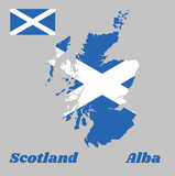 Map outline and flag of Scotland, it is a blue field with a white diagonal cross that extends to the corners, Scotland and Alba. - 212120138