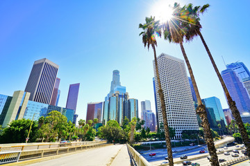 View of the office buildings and main roads in the financial district in Los Angeles on a sunny day.