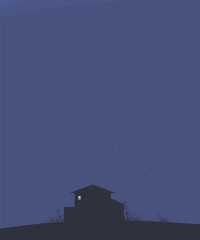 dark blue landscape sky with stars night house on a hill dark outline bushes branches and bright light to a rectangular window vector illustration vertical dark blank space on top for text © Екатерина Зайцева