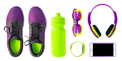 Top view of sport accessories and equipment for fitness and running. Training shoes, smartphone, bottle etc. isolated on white background. Healthy lifestyle concept © lilkin