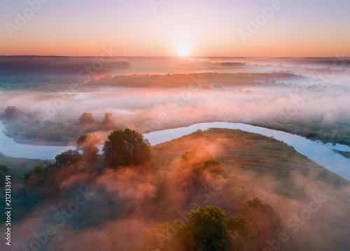 Fotobehang Zomer Summer aerial landscape. Sunrise over fog and river.