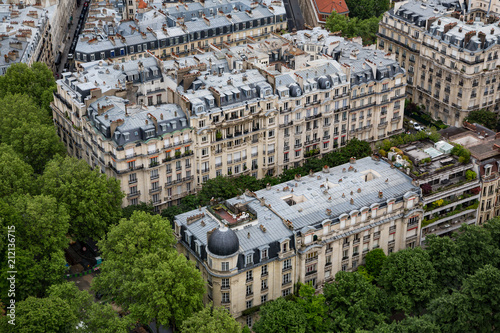 Rooftops of Paris France, captured from above