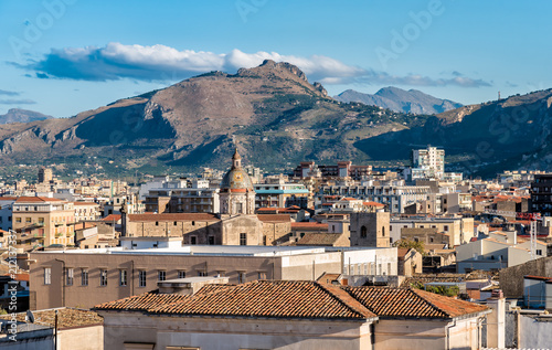 Wall mural Top view of Palermo cityscape, Sicily, Italy