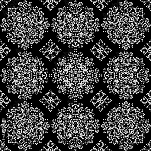 Abstract pattern black and whit doodle - 212138581