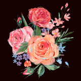 Vintage bouquet of pink roses - 212139969