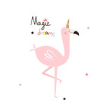 Pink flamingo unicorn with inspirational quote. Vector hand drawn illustration. - 212140117