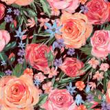 Vintage seamless pattern wuth pink roses - 212142763