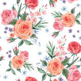Vintage seamless pattern wuth pink roses - 212143364