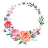 Vintage floral wreath of pink roses  - 212144559