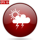 Storm cherry red glossy round web vector icon. Editable simple circle modern design internet button on white background. - 212144792