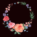 Vintage floral wreath of pink roses  - 212144954